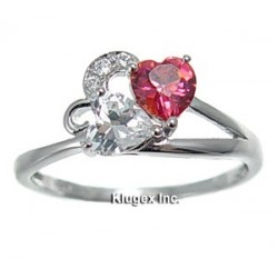 Sterling Silver Heart Ring With CZ Size 7