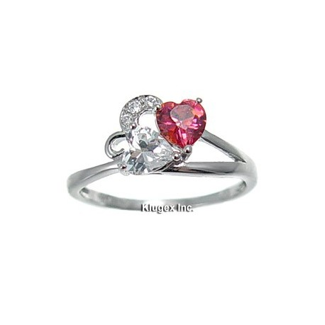 Sterling Silver Heart Ring With CZ Size 6