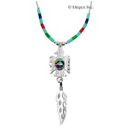 Southwest Liquid Silver Inlay Necklace