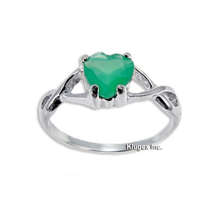 Sterling Silver Ring with Green Onyx Size 7