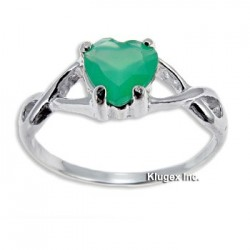 Sterling Silver Ring with Green Onyx Size 6