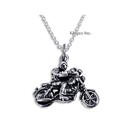 Sterling Silver Motorcyclist Pendant with Chain