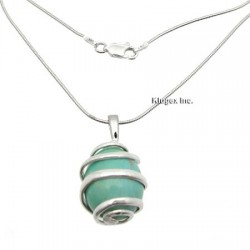 Sterling Silver Turquoise Pendant W Snake Chain
