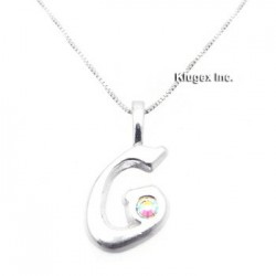 Sterling Silver Initial Pendant W Chain G