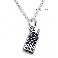 Sterling Silver Cell Phone Pendant with Chain