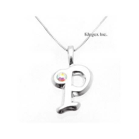 Sterling Silver Initial Pendant W Chain P