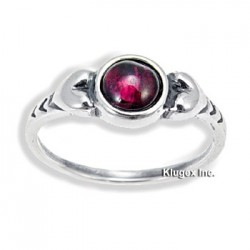 Sterling Silver Ring with Garnet Size 8