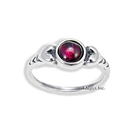 Sterling Silver Ring with Garnet Size 6