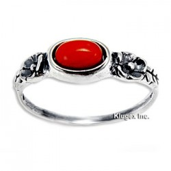 Sterling Silver Ring with Coral