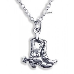 Sterling Silver Boots Pendant with Chain