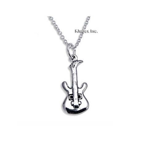 Sterling Silver Guitar Pendant with Chain