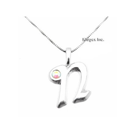 Sterling Silver Initial Pendant W Chain N