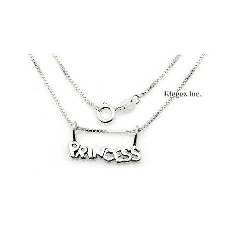 Sterling Silver Princess Pendant With Chain