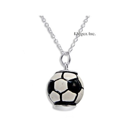 Sterling Silver & Enamel Soccer Ball Pendant with Chain
