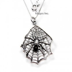 Sterling Silver Spider on Web Pendant With Chain