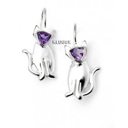 Sterling Silver Cat Earrings With Amethyst