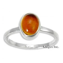 Sterling Silver Ring With Amber Size 8