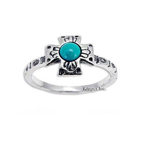 Sterling Silver Ring with Turquoise Size 8