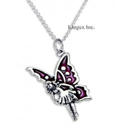 Sterling Silver & Enamel Fairy Pendant with Chain
