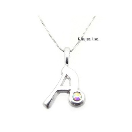 Sterling Silver Initial Pendant W Chain A
