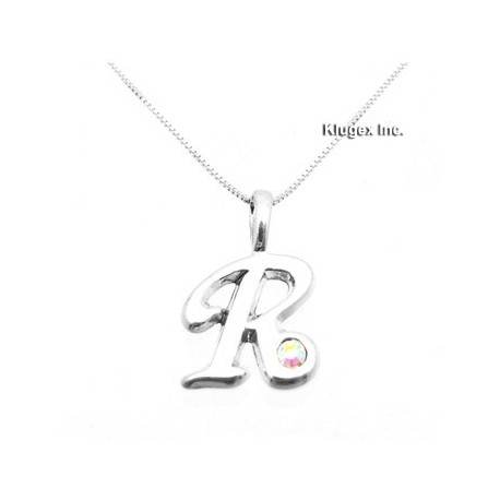 Sterling Silver Initial Pendant W Chain R