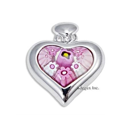 Millefiori Sterling Silver Heart Pendant
