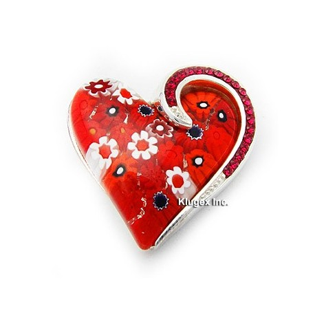 Millefiori Sterling Silver Heart Pendant W/ Swarovski Crystal