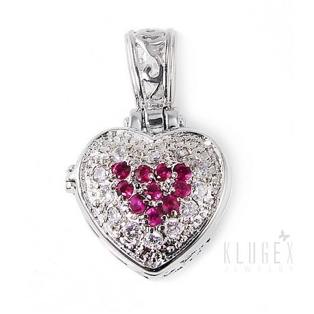 Sterling Silver Heart Locket Pendant W/ White & Pink CZ