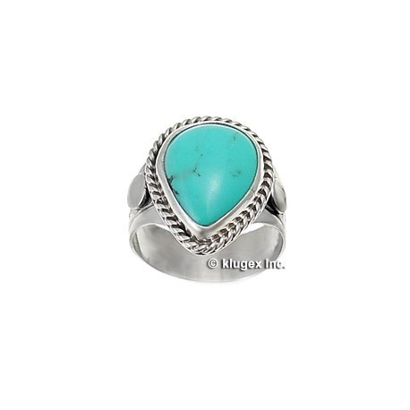 Southwestern Sterling Silver & Turquoise Ring Size 6