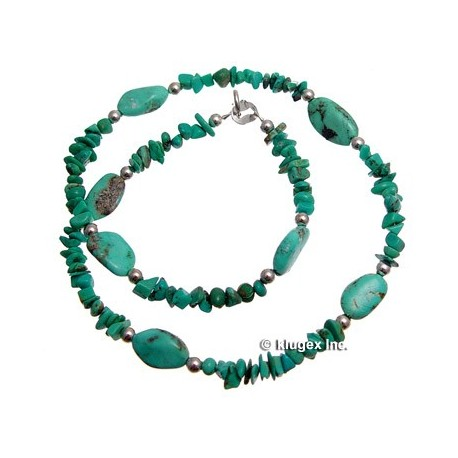Southwest Sterling Beaded Turquoise Necklace