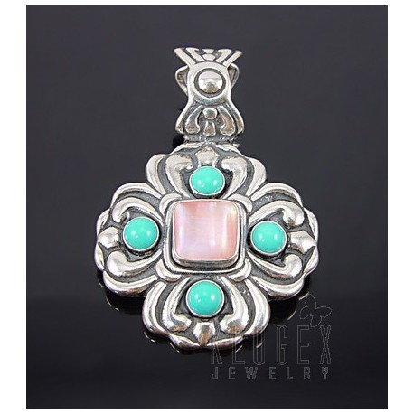 Southwest Sterling Silver Pendant With Turquoise