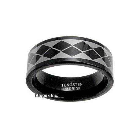Black Tungsten Carbide Band Ring Size 7