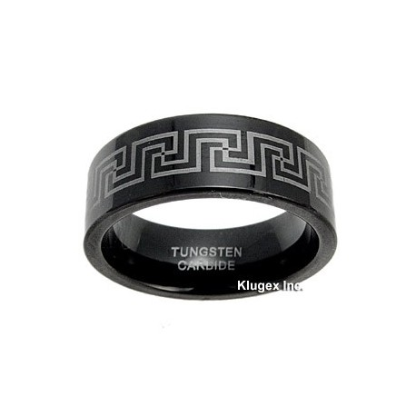 Black Tungsten Carbide Band Ring Size 8