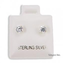 Sterling Silver 4 mm Cubic Zirconia Stud Earrings