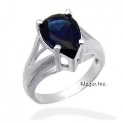 Sterling Silver Ring With Blue CZ Size 7