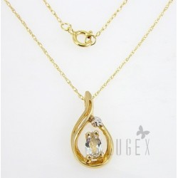 10K Gold Aquamarine Pendant With Necklace