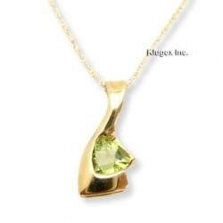 10K Gold Peridot Pendant With Necklace