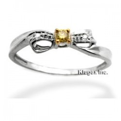 10k Gold Ring With Yellow & White Diamond Size 7