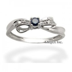 10K Gold Ring With Blue & White Diamond Size 8.5