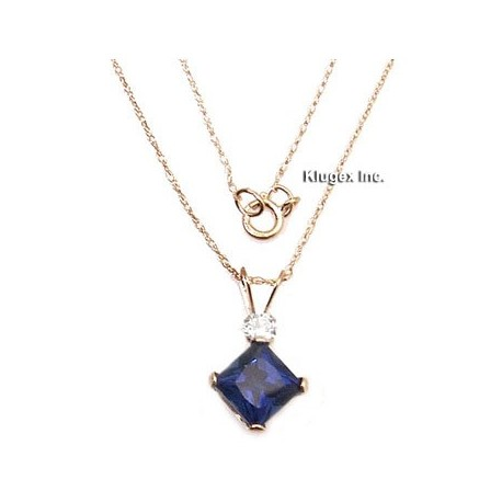 10K Gold Blue Sapphire Pendant