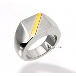 Stainless Steel and 14K Gold Ring