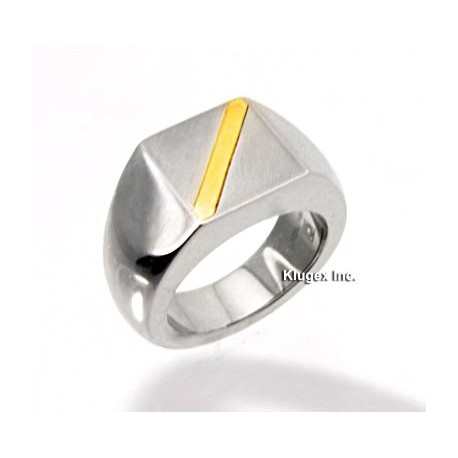 Stainless Steel and 14K Gold Ring Size 8.5