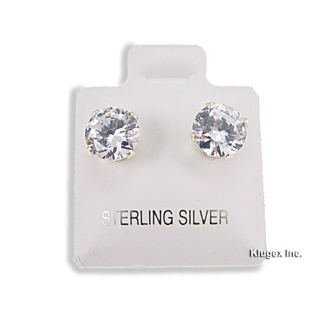 Sterling Silver 7mm Cubic Zirconia Stud Earrings
