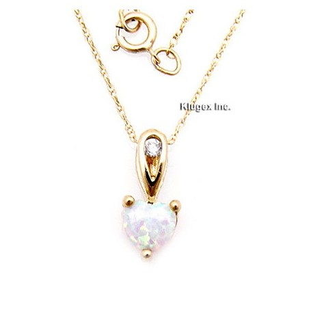 10K Gold Opal Pendant With Chain
