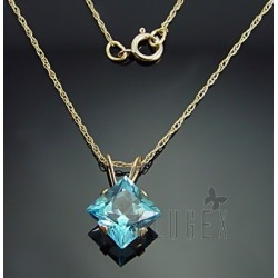 10K Gold Blue Topaz Pendant With Chain