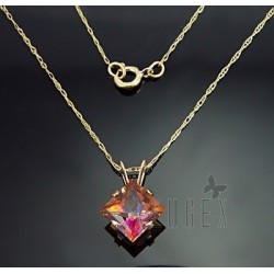 10K Gold Sienna Topaz Pendant With Chain