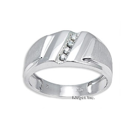 10K White Gold Mens Ring With Diamond Size 11