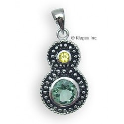 Sterling Silver Pendant With Green Topaz