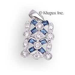 Sterling Silver Pendant With Cubic Zirconia & Blue Baguette