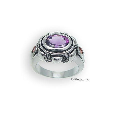 Sterling Silver Ring With Amethyst & Garnet Size 8
